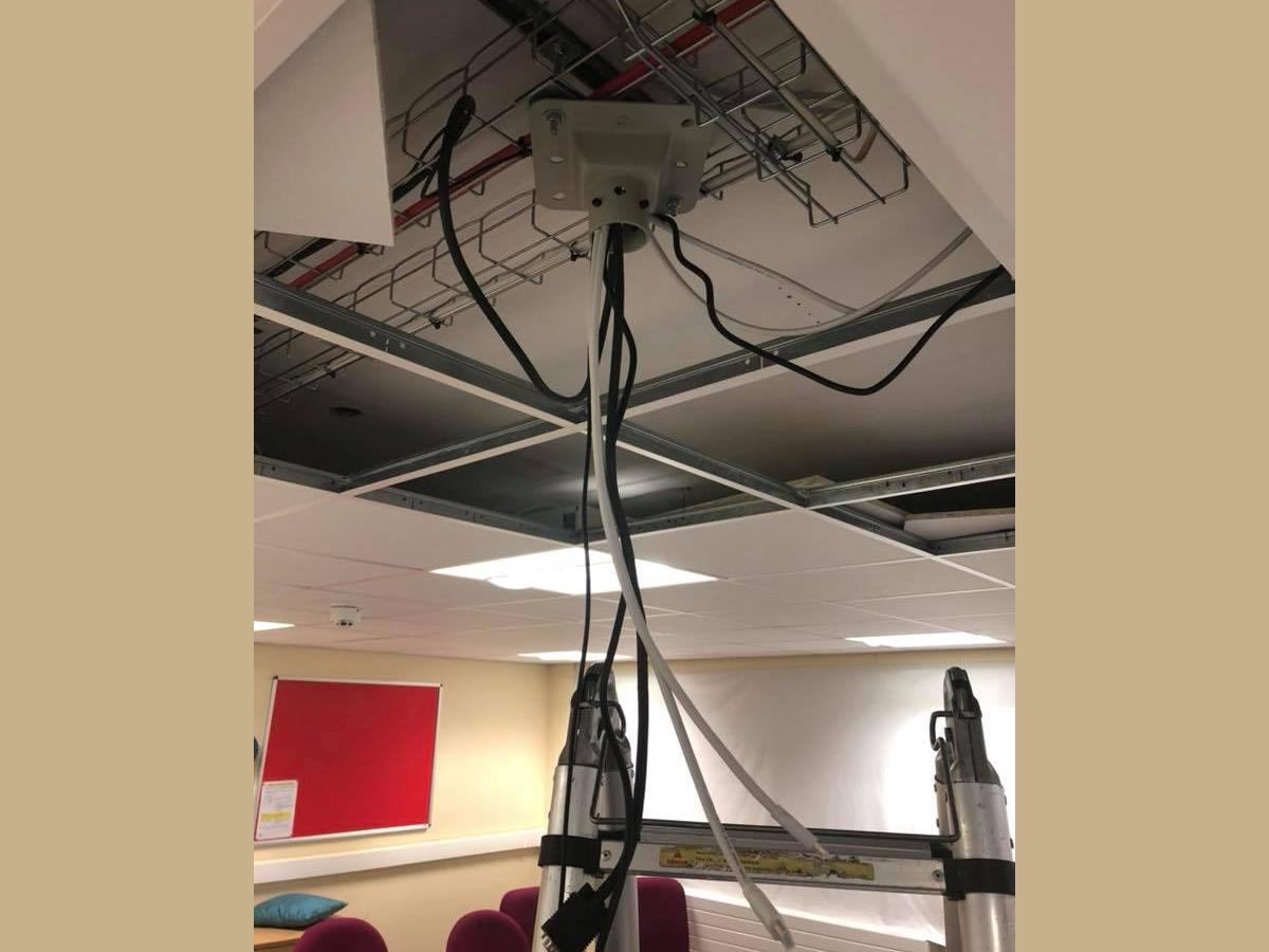 2 of 3 - Wiring for projector installation for Lancashire County Council.
